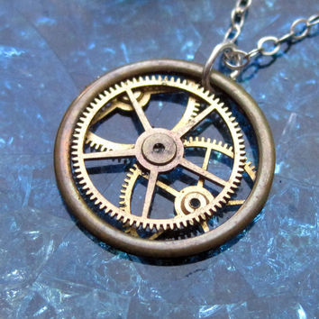 "Watch Gear Necklace ""Edison"" Recycled Mechanical Watch Gears and Intricate Sculpture Wearable Art Not Quite Steampunk Assembly Necklace"