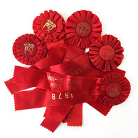 Equestrian Ribbons, Lot of 5 Vintage 1970s New England Horse Show Prizes / Instant Collection / Christmas Red / Equine Sport Awards