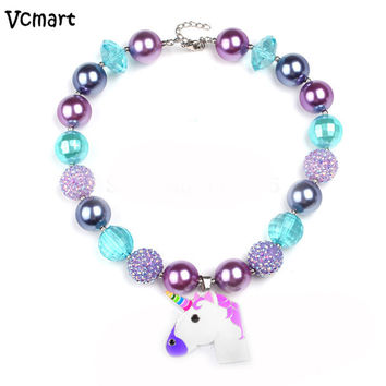 Vcmart Rainbow Dash Little Horse Necklace Kids Chunky Bubblegum Necklace Handmade Bead Jewelry
