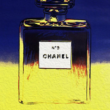 Chanel No 5 No5 No.5 Andy Warhol Blue Yellow Print Poster - Pop Art, French, Vintage, Art Deco