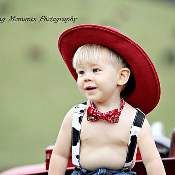 Red Bandana Bow Tie and Black and White Cow Print Suspenders set Western / Farmer ( Men, boys, baby, toddler, infant Suspender and Bowtie )