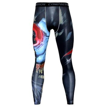 Men 3D Print Compression Pants Base Layer Exercise Joggers Men's Fitness Anime Fitness Skinny Leggings Male Tights