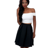 Ivory Off The Shoulder Crop Top