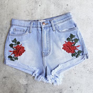 embroidered high waist denim shorts - light stone wash