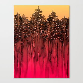 FOREST THROUGH THE TREES 12 Hot Pink Magenta Orange Black Landscape Ombre Abstract Painting Outdoors Canvas Print by EbiEmporium