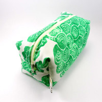 Green and Cream Floral Print  Makeup Bag, Boxy Pouch, Zippered, Cosmetic Case, Gadget Pencil Case, Under 15, For Her