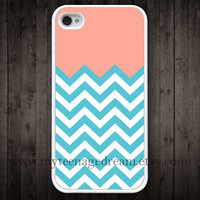 chevron iPhone 4 Case, iphone 4s case, blue chevron iPhone white Hard Case for iphone 4 4s