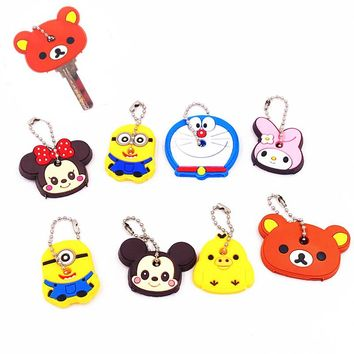 1Set Cute Cartoon Mickey Minnie Minions Bear Keychains Silicone Woman Car Backpack Pendant Key Cover Key Caps Key Holder Gift