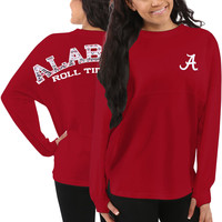 Alabama Crimson Tide Women's Aztec Sweeper Long Sleeve Oversized Top - Red