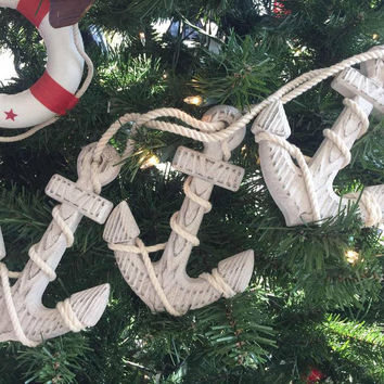 Wooden Rustic Whitewashed Decorative Triple Anchor Christmas Ornament Set 7""