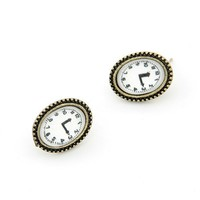 I'm Late Alice! Simple Antique Style Analog Clock Stud Earrings