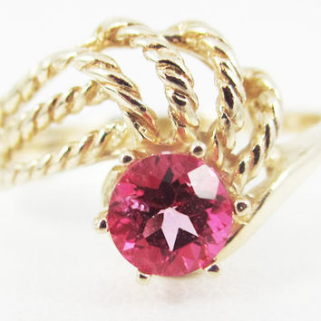 Pink Topaz 14k Yellow Gold Twisted Swirls Ring, Solid 14 Karat Gold Ring, 14k Gold Pink Topaz Ring, Pink Topaz Solitaire Ring