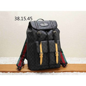 GUCCI street fashion men and women fashion casual travel bag backpack Black