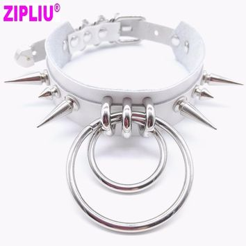 Women NEW Fashion Sexy handmade Leather choker belt Punk Goth Collar Harajuku Necklace Round club party Torques free shipping