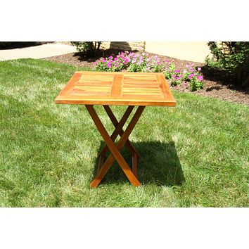 Ala Teak Wood Patio Outside Garden Yard Folding Table Waterproof Teak Furniture