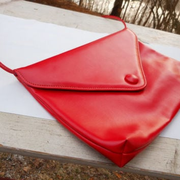 Red Clutch Handbag Retro 80's Button,Taffeta Lining,Shoulder,Strap,Rockabilly,Pin Up,Evening Bag Purse