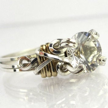 Herkimer Diamond Sterling Silver with Gold Accents Engagement Ring
