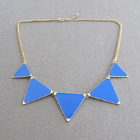 Light Blue / Triangle Shiny Necklac.. on Luulla