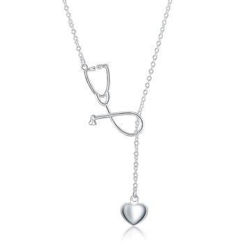 GINSTONELATE Charms wedding silver plated women necklace Doctors Stethoscope Lariat jewelry cute nice lady gift