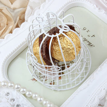 1 PC New Luxe White Bird Cage Wedding Party Gift Box Favor Metal Candy Chocolate Flower Decor VBT66 P69