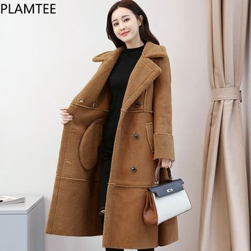 PLAMTEE 3 Colors Women's Winter Coat Thicker Wool Double Breasted Long Female Jacket With Pockets Elegant Women Coats Plus Size