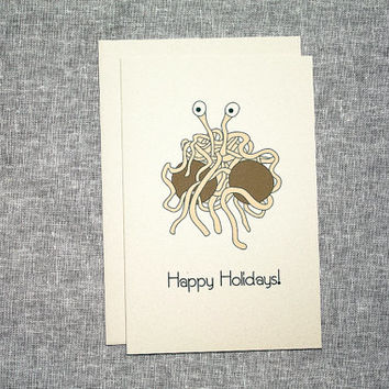 Flying Spaghetti Monster Holiday Card Noodle Boiled Sins FSM Atheist Pastafarian