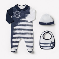 New Autumn baby boy bodysuits hat Bebe 3pcs full sleeve striped infant clothing baby jordan for 3-18M Brand style