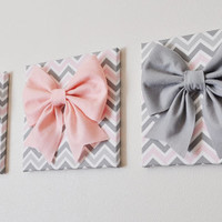 "SET OF THREE Wall Decor -Large Gray Pink and White Bows on Pink and Gray Chevron 12 x12"" Canvases Wall Art- Baby Nursery Wall Decor-"