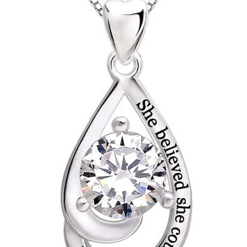 "Jewelry Sterling Silver ""She believed she could so she did"" Cubic Zirconia Pendant Necklace"
