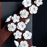 White Floral Magnets, (Set of 3)