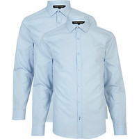 River Island MensLight blue long sleeve poplin shirt pack