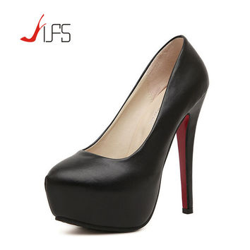 Ladies Sexy 14cm High Heels Platform Pumps New Fashion Women Wedding Party Shoes Plus Size 34-43 Zapatos Mujer