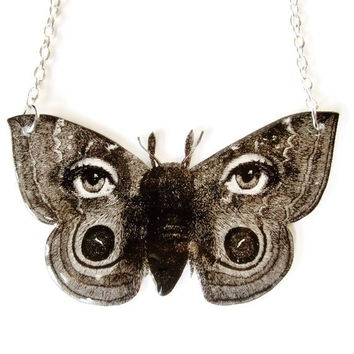 Surreal Butterfly Moth Necklace Black and White Eye Avant Garde Vintage Illustration Statement Jewelry