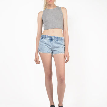 Pom Trim Denim Jogger Shorts
