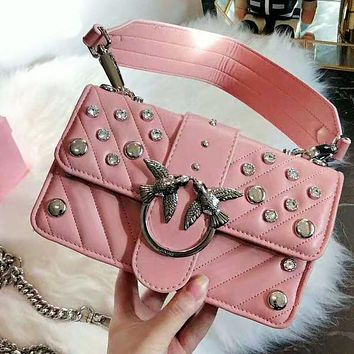 PINKO High Quality Fashionable Women Shopping Bag Leather Metal Chain Shoulder Bag Crossbody Satchel Pink