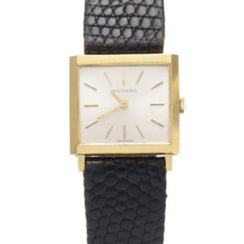 Movado Pre-Owned Mid-Size Square Watch - 18k Gold Case - Silver-Toned Dial