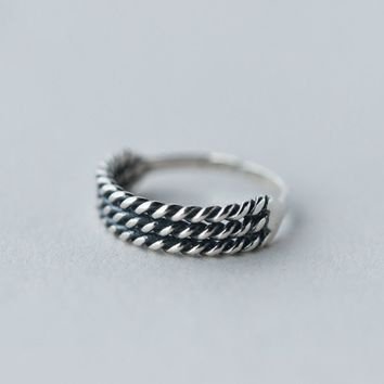 171206   Vintage Folk Style 925 Silver Three Silver Layer Twist Ring J319