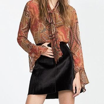 Womens Paisley Ascot Tie Blouse - Orange