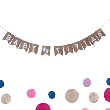 Custom Cute Baby Name Baby Shower Banner, Baby Footprint Banner, Rustic White Paper Garland