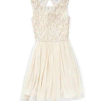 GB Girls 7-16 Lace-Bodice Swing Dress - Natural
