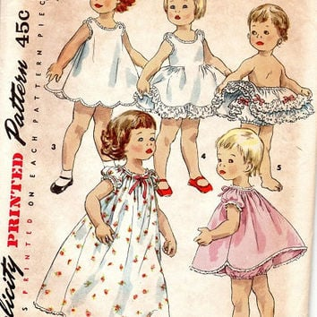Simplicity 1563 Sewing Pattern 1950s Toddler Lingerie Wardrobe Nightgown Panties Petticoat Slip Tutu Pajamas Size 1