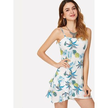 Pineapple Printed Knot Back Dress