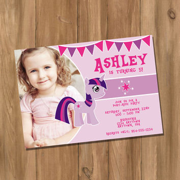 My Cute Pony My Little Pony Twilight Sparkle Inspired Birthday Party Invitation with Photo (Digital - DIY)