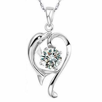 Charming Jewelry Romantic Dolphins High Quality Crystal Rhinestones Pendant Color Silver Plated