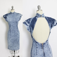 Vintage 1980s Dress - DENIM Acid Wash BACKLESS Fitted 80s - Small S