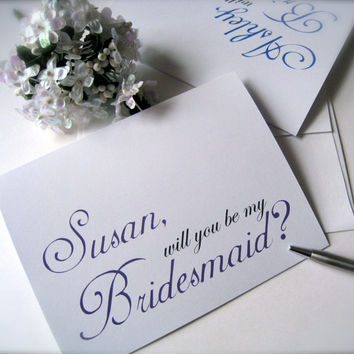 Personalized bridesmaid invitation, bridesmaid cards, will you be my bridesmaid, bridal party cards (2 cards)