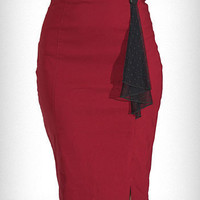 Cranberry High Waist Pencil Skirt | PLASTICLAND