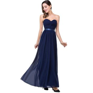 Formal Evening Dress Elegant Chiffon Burgundy Navy Blue Ruched Bust Long Maxi Women Evening Party Dresses