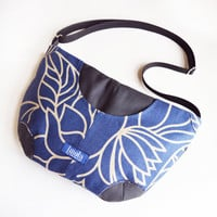 Floral blue gray purse crossbody bag concealed carry purse messenger bag canvas bag shoulder bag hobo bag dark grey blue lotus flower OOAK