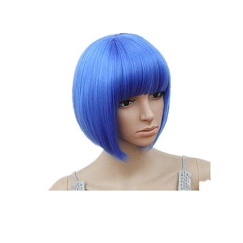 Fei-Show Short Wavy Wig Flat Bangs Bob Blue Hair Synthetic Heat Resistant Fiber Carnival Party Salon Costume Cos-play Hairpiece